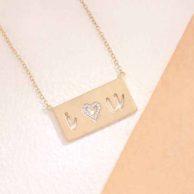 I Love You Gold and Diamond Necklace