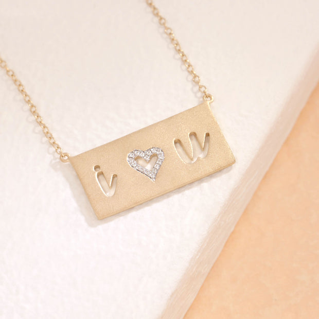 I Love You Gold and Diamond Necklace, alt view
