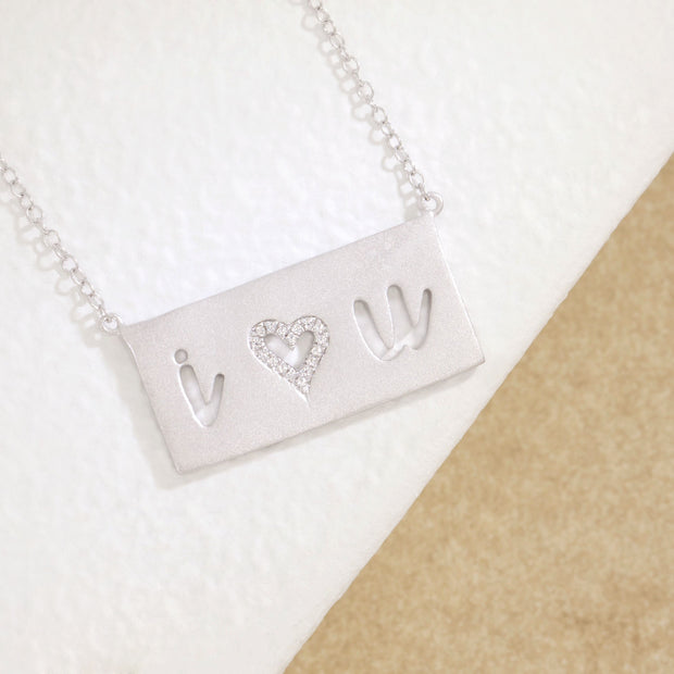 I Love You Sterling Silver and Diamond Necklace