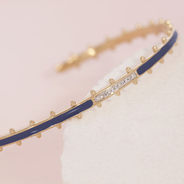 (I See) Your True Colors Navy Blue Gold and Diamond Bracelet Detail