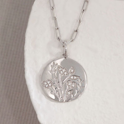 In Full Bloom Sterling Silver and Diamond Necklace