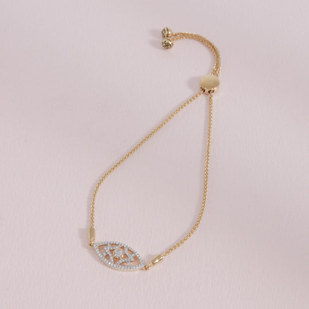 Lattice Love Gold and Diamond Bracelet