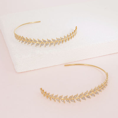 Leaf It All Behind Gold and Diamond Hoop Earrings