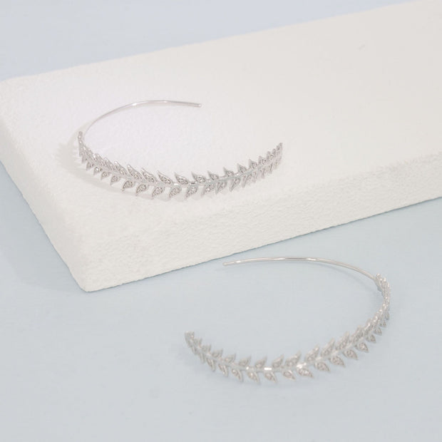 Leaf It All Behind Sterling Silver and Diamond Hoop Earrings