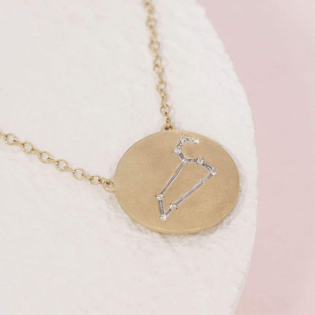 Leo Zodiac Necklace in Gold with Diamonds, alt view