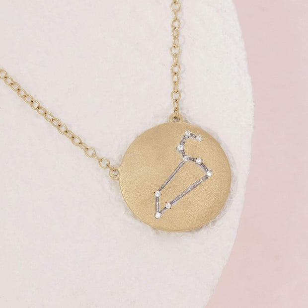Leo Zodiac Necklace in Gold with Diamonds