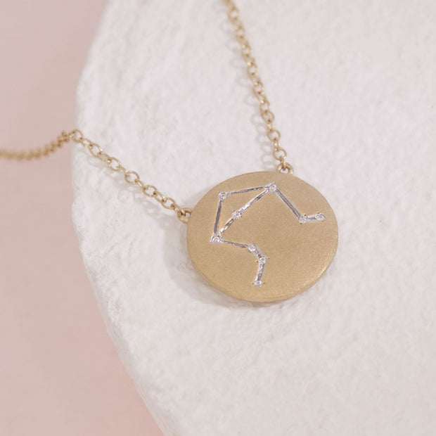 Libra Gold Zodiac Necklace with Diamonds