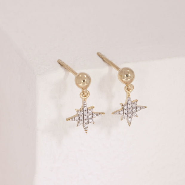 Light The Way Gold and Diamond Star Earrings