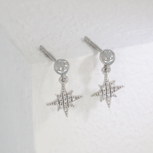 Light The Way Sterling Silver and Diamond Star Earrings