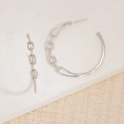 Link Up Sterling Silver Hoop Earrings