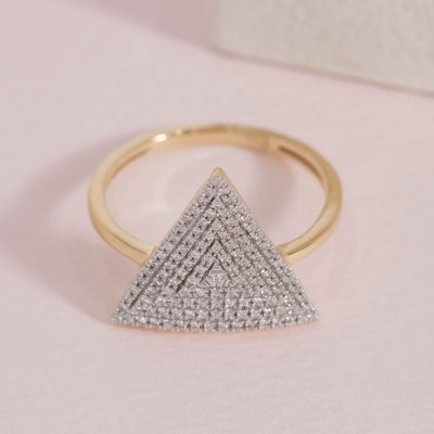 Love Triangle Gold and Diamond Ring