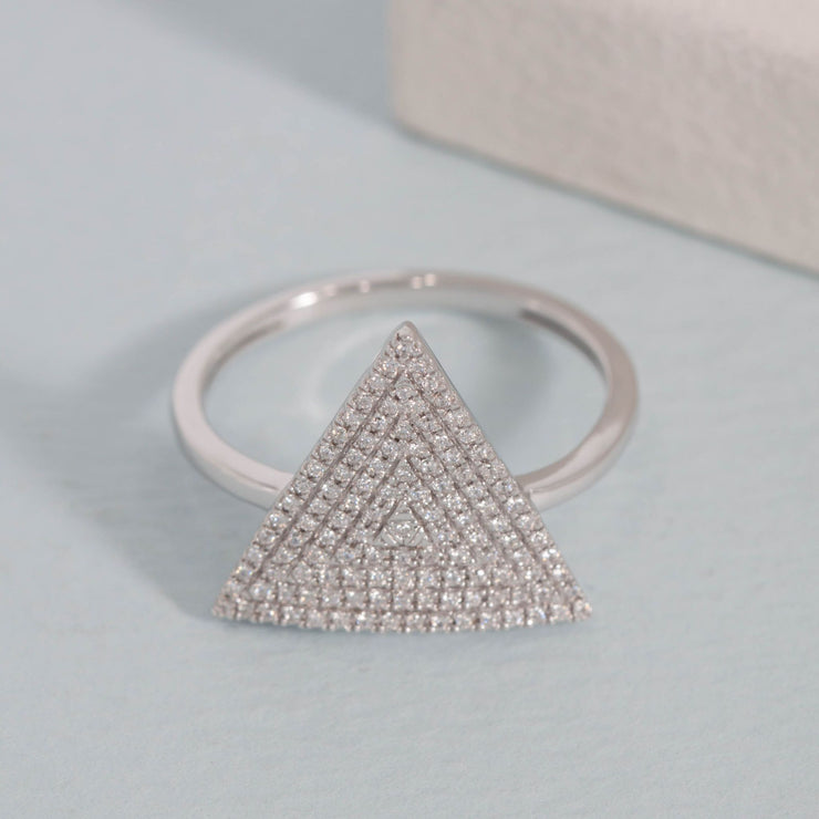 Love Triangle Sterling Silver and Diamond Ring