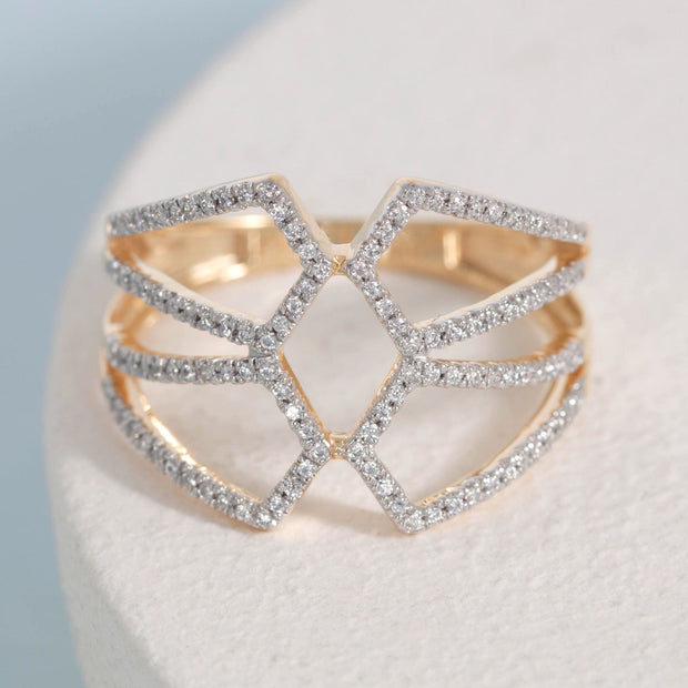 Make a Statement Gold and Diamond Ring