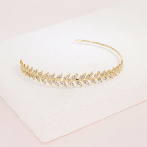 Leaf It All Behind Gold and Diamond Hoop Earring Detail