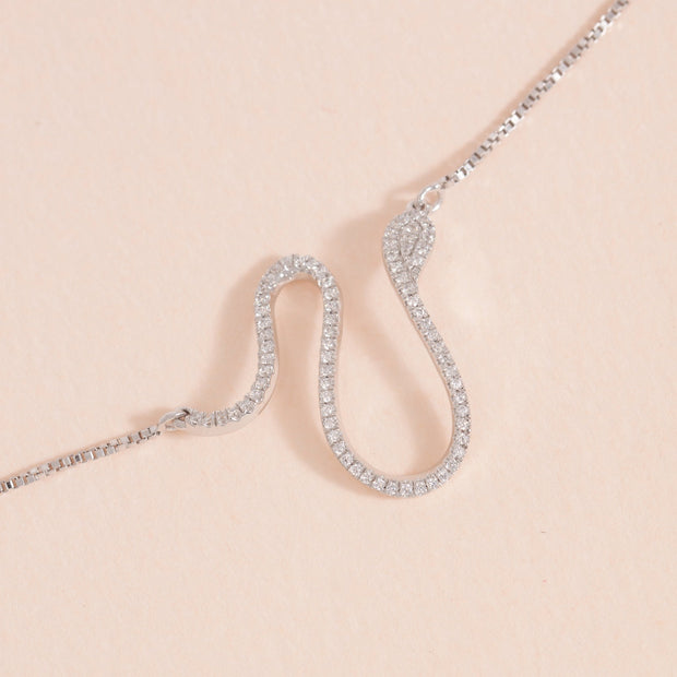 Mighty Asp Sterling Silver and Diamond Necklace