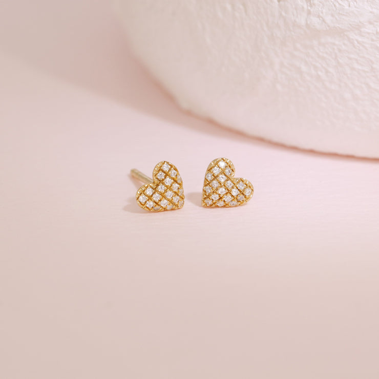 Mini Heart Gold Stud Earrings