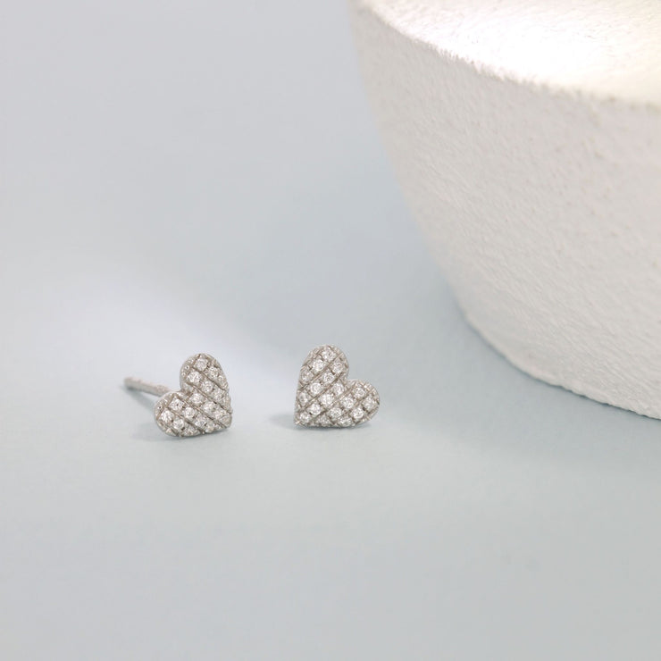Mini Heart Sterling Silver Stud Earrings