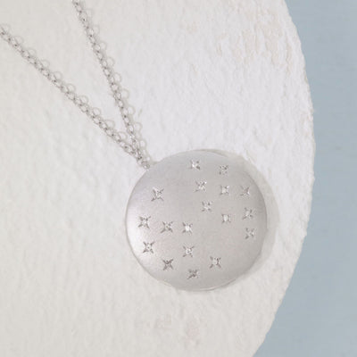 Oh, Starry Night Sterling Silver and Diamond Necklace