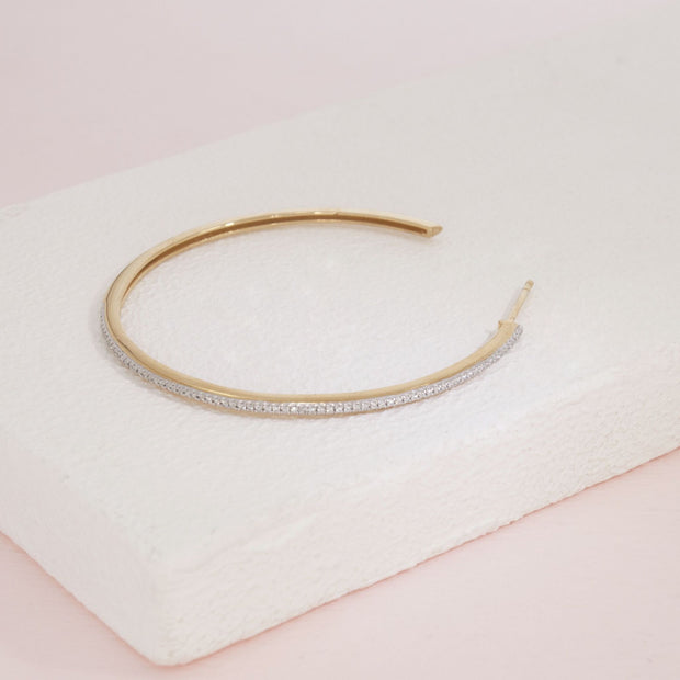 One Hot Havana Night Gold and Diamond Large Hoop Earring Detail