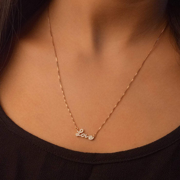 Love Conquers All Rose Gold Pendant Necklace