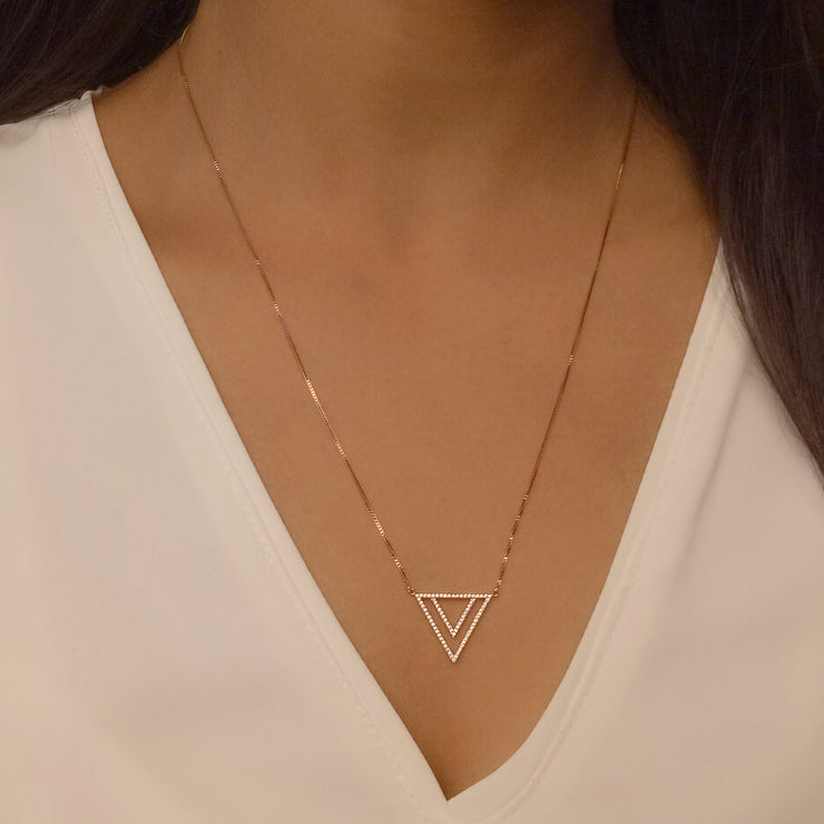 Two By Triangle Gold Pendant Necklace