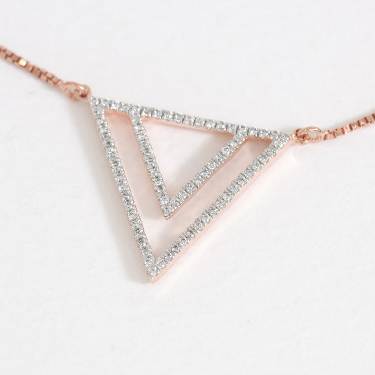 Two By Triangle Rose Gold Pendant Necklace