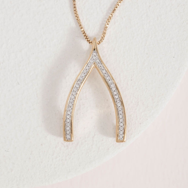 Wishbone Gold and Diamond Necklace