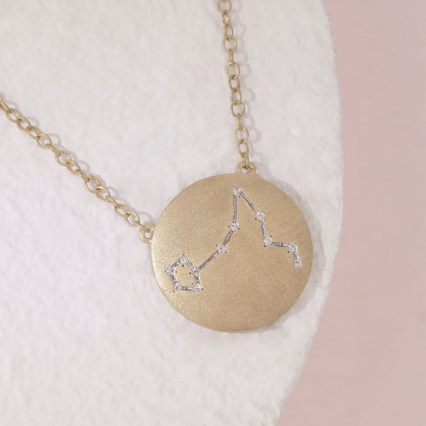 Pisces Zodiac Necklace in Gold with Diamonds
