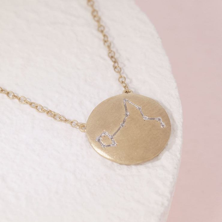 Pisces Zodiac Necklace in Gold with Diamonds, alt view