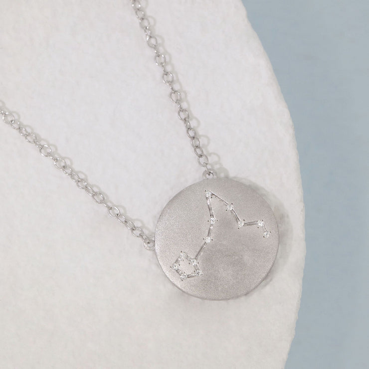 Pisces Zodiac Necklace in Sterling Silver with Diamonds