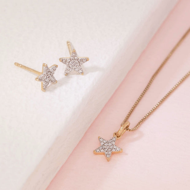 Reach For The Stars Gold Earrings and Diamond Necklace Gift Set