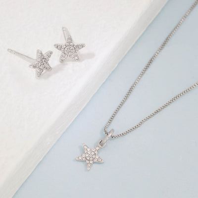 Reach For The Stars Sterling Silver Earrings and Diamond Necklace Gift Set