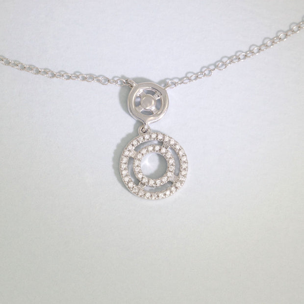 Rock Circle Sterling Silver Diamond Necklace