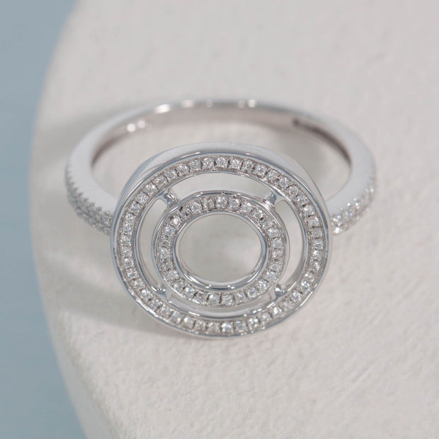Rock Circle Sterling Silver and Diamond Ring