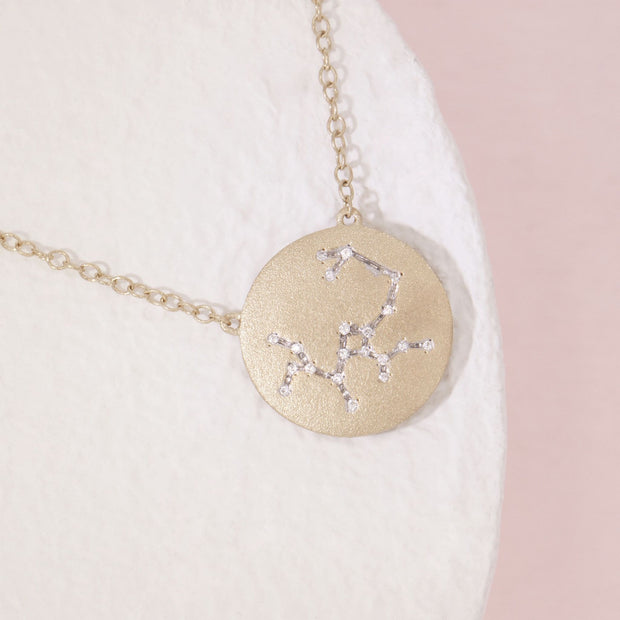 Sagittarius Zodiac Necklace in Gold with Diamonds