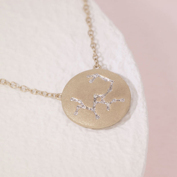 Sagittarius Zodiac Necklace in Gold with Diamonds, alt view