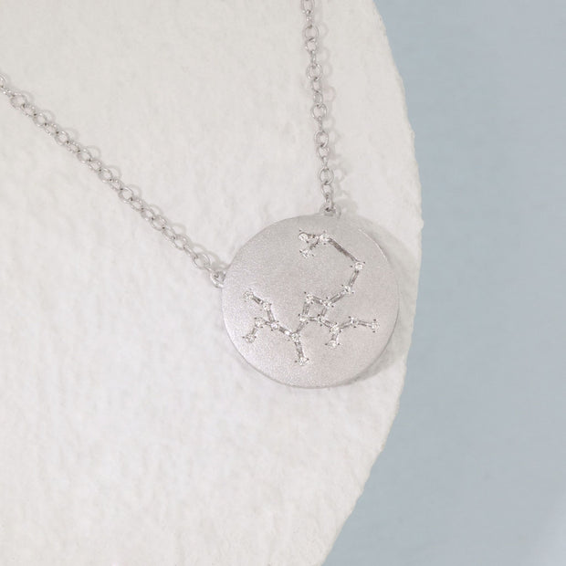 Sagittarius Zodiac Necklace in Sterling Silver with Diamonds