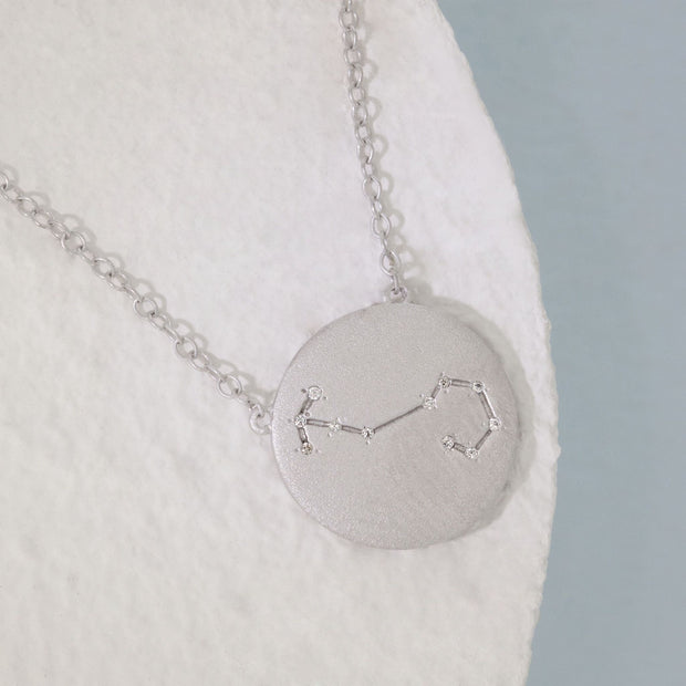Scorpio Zodiac Necklace in Sterling Silver with Diamonds