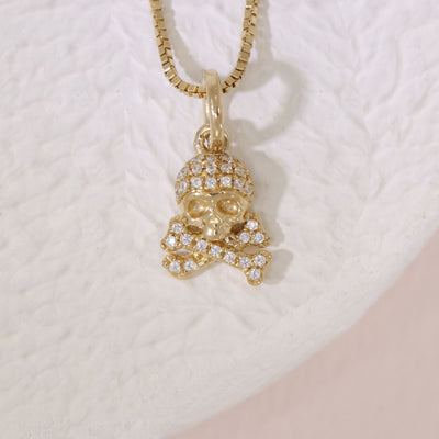 Skull And Crossbones Gold and Diamond Necklace