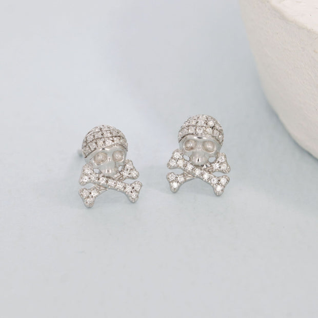 Skull and Crossbones Sterling Silver and Diamond Stud Earrings