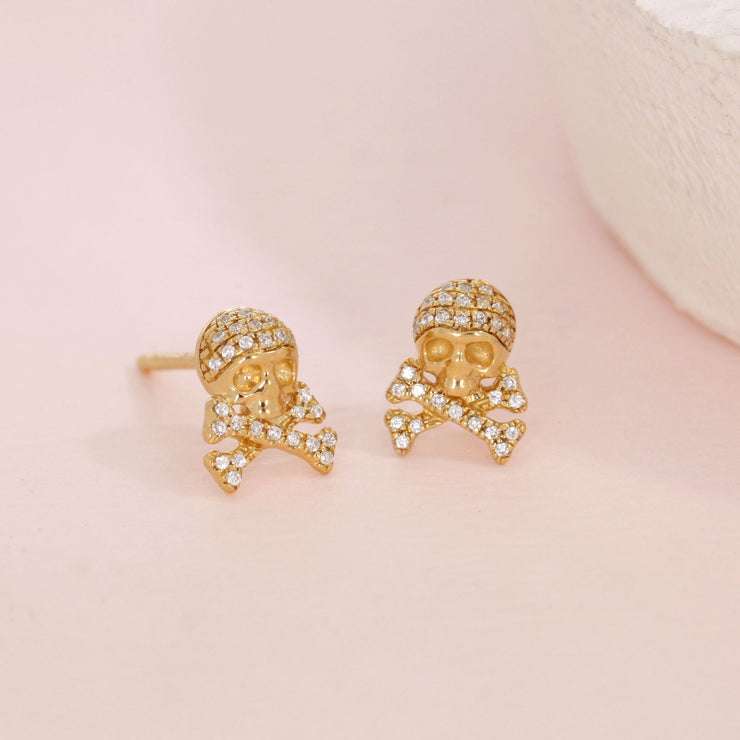 Skull and Crossbones Gold and Diamond Stud Earrings