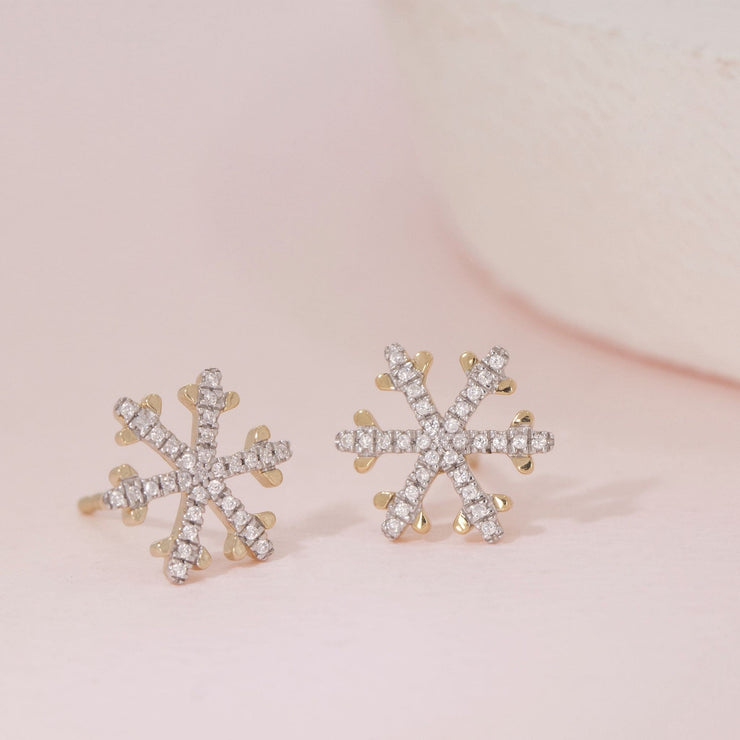 Snowflakes Are Falling Gold and Diamond Stud Earrings
