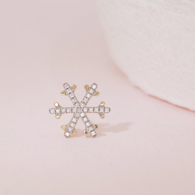 Snowflakes Are Falling Gold and Diamond Stud Earring Detail