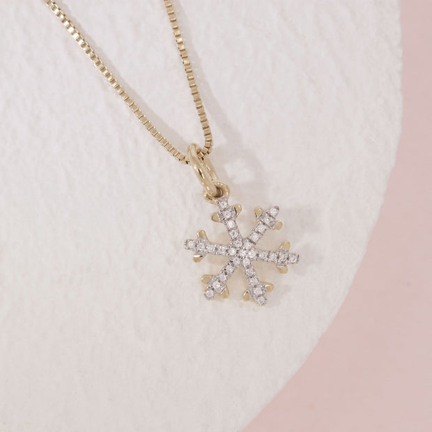 Snowflakes Are Falling Gold and Diamond Necklace