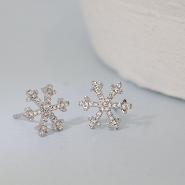 Snowflakes Are Falling Sterling Silver and Diamond Stud Earrings