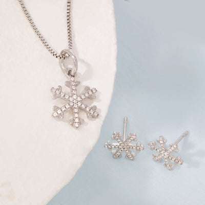 Snowflakes Are Falling Sterling Silver Earrings And Diamond Necklace Gift Set