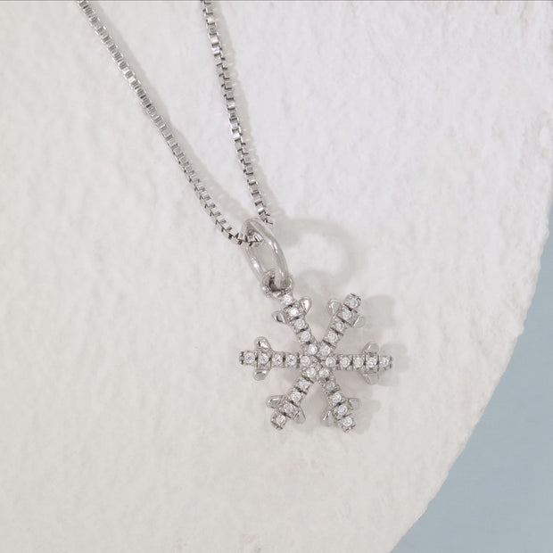 Snowflakes Are Falling Sterling Silver and Diamond Necklace