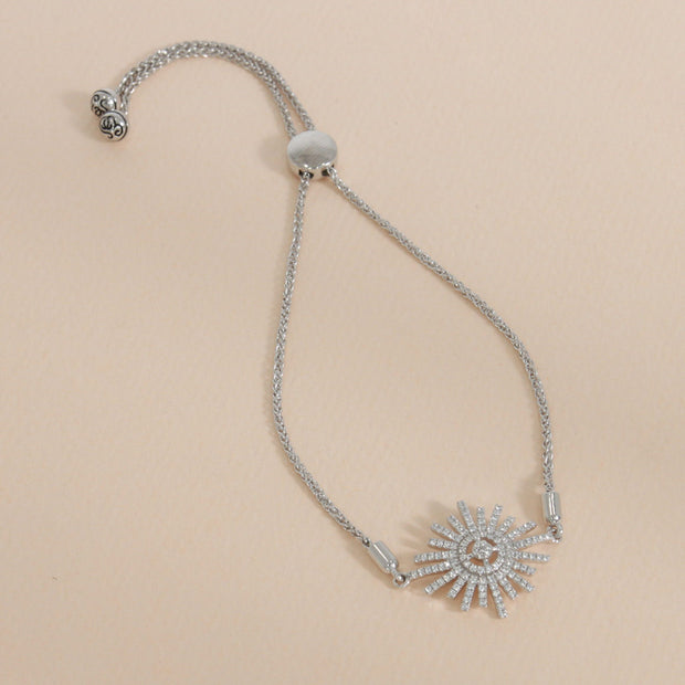 Starburst Sterling Silver and Diamond Bracelet