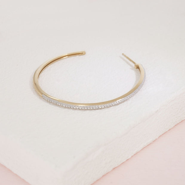 Sunshine On My Mind Gold And Diamond Hoop Earring Detail