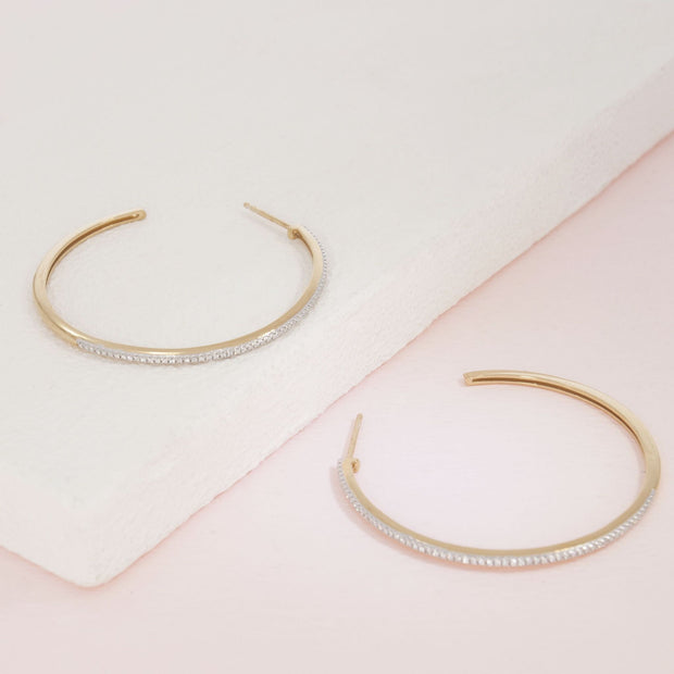 Sunshine On My Mind Gold and Diamond Hoop Earrings